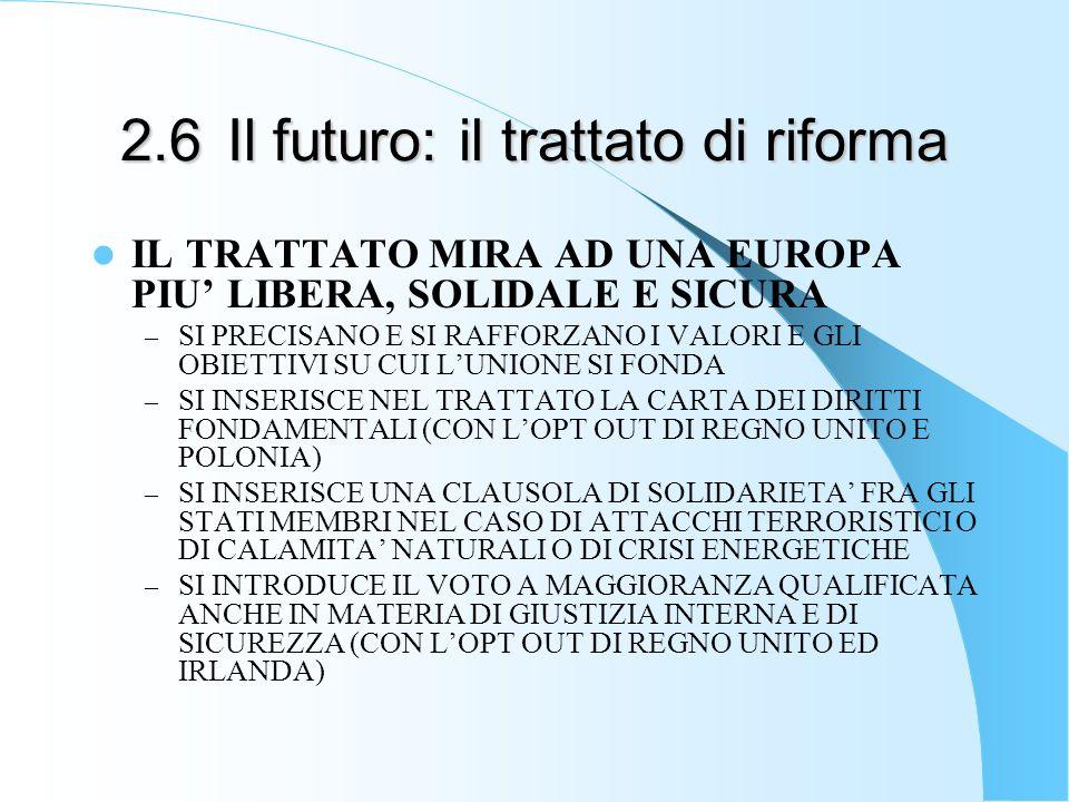 2.6Il futuro: il trattato di riforma IL TRATTATO MIRA AD UNA EUROPA PIU LIBERA, SOLIDALE E SICURA – SI PRECISANO E SI RAFFORZANO I VALORI E GLI OBIETT