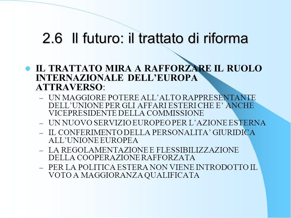 2.6Il futuro: il trattato di riforma IL TRATTATO MIRA A RAFFORZARE IL RUOLO INTERNAZIONALE DELLEUROPA ATTRAVERSO: – UN MAGGIORE POTERE ALLALTO RAPPRESENTANTE DELLUNIONE PER GLI AFFARI ESTERI CHE E ANCHE VICEPRESIDENTE DELLA COMMISSIONE – UN NUOVO SERVIZIO EUROPEO PER LAZIONE ESTERNA – IL CONFERIMENTO DELLA PERSONALITA GIURIDICA ALLUNIONE EUROPEA – LA REGOLAMENTAZIONE E FLESSIBILIZZAZIONE DELLA COOPERAZIONE RAFFORZATA – PER LA POLITICA ESTERA NON VIENE INTRODOTTO IL VOTO A MAGGIORANZA QUALIFICATA