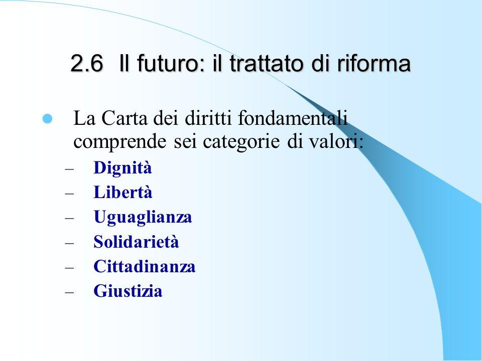 2.6Il futuro: il trattato di riforma La Carta dei diritti fondamentali comprende sei categorie di valori: – Dignità – Libertà – Uguaglianza – Solidarietà – Cittadinanza – Giustizia