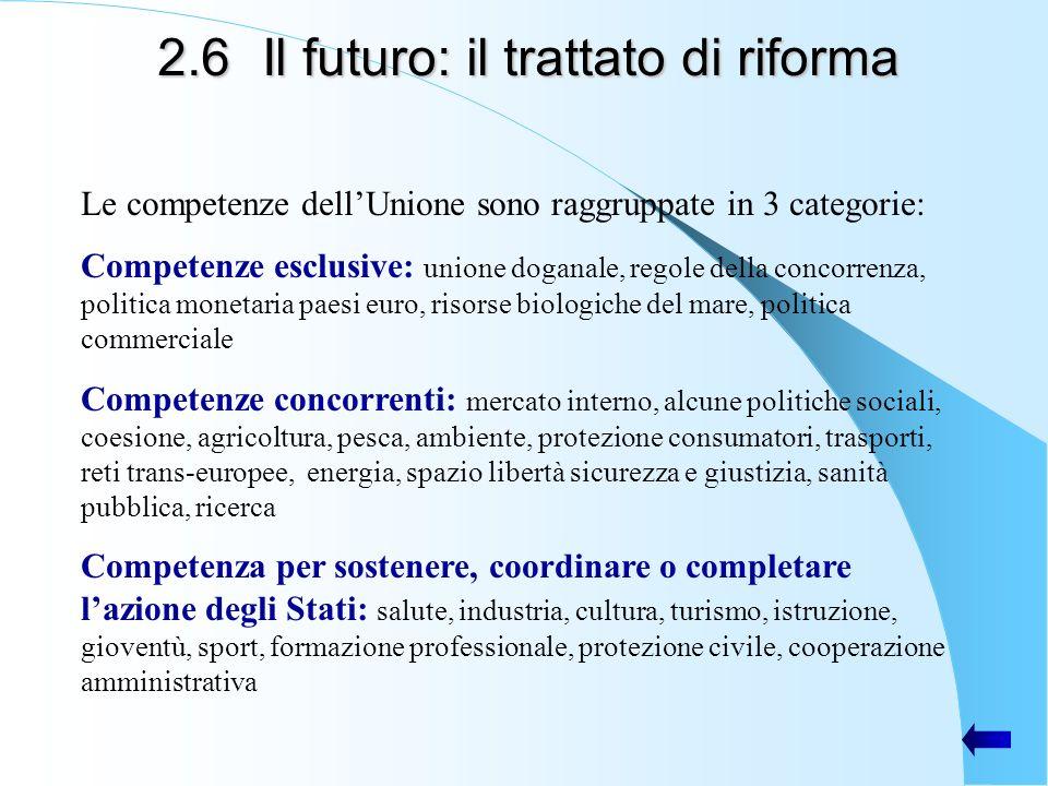 2.6Il futuro: il trattato di riforma Le competenze dellUnione sono raggruppate in 3 categorie: Competenze esclusive: unione doganale, regole della con