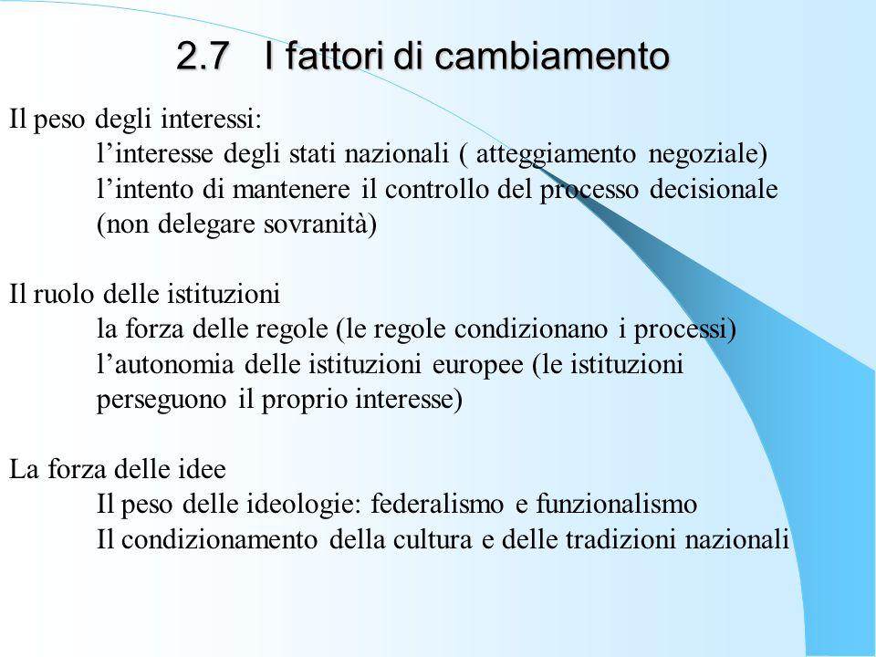 2.7I fattori di cambiamento Il peso degli interessi: linteresse degli stati nazionali ( atteggiamento negoziale) lintento di mantenere il controllo de