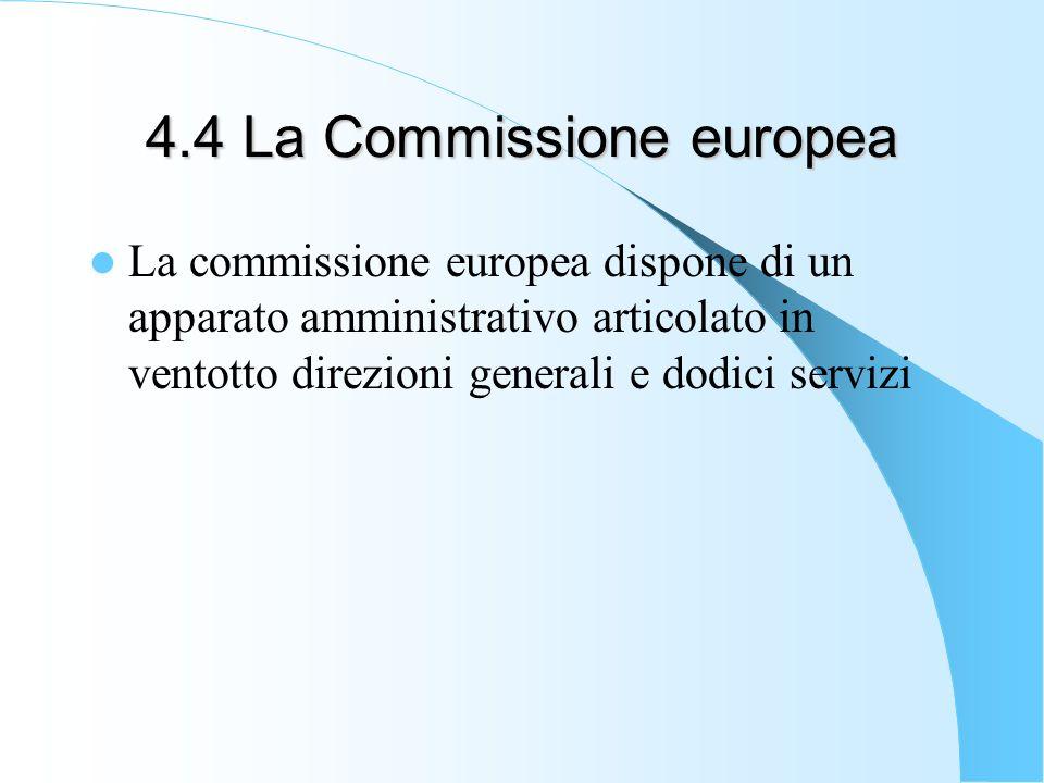 4.4 La Commissione europea La commissione europea dispone di un apparato amministrativo articolato in ventotto direzioni generali e dodici servizi