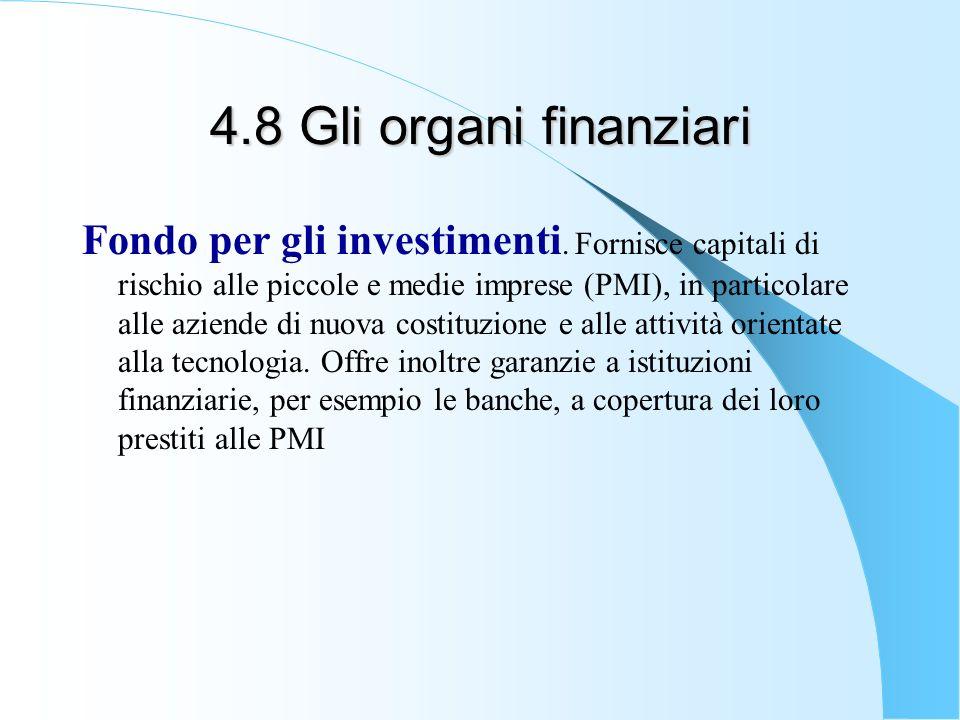 4.8 Gli organi finanziari Fondo per gli investimenti. Fornisce capitali di rischio alle piccole e medie imprese (PMI), in particolare alle aziende di