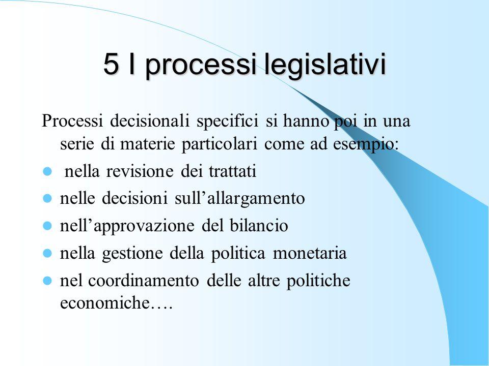 5 I processi legislativi Processi decisionali specifici si hanno poi in una serie di materie particolari come ad esempio: nella revisione dei trattati nelle decisioni sullallargamento nellapprovazione del bilancio nella gestione della politica monetaria nel coordinamento delle altre politiche economiche….