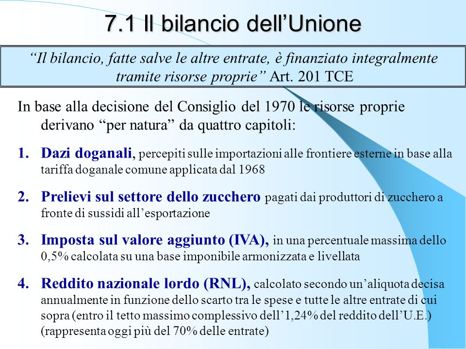7.1 Il bilancio dellUnione In base alla decisione del Consiglio del 1970 le risorse proprie derivano per natura da quattro capitoli: 1.Dazi doganali, percepiti sulle importazioni alle frontiere esterne in base alla tariffa doganale comune applicata dal 1968 2.Prelievi sul settore dello zucchero pagati dai produttori di zucchero a fronte di sussidi allesportazione 3.Imposta sul valore aggiunto (IVA), in una percentuale massima dello 0,5% calcolata su una base imponibile armonizzata e livellata 4.Reddito nazionale lordo (RNL), calcolato secondo unaliquota decisa annualmente in funzione dello scarto tra le spese e tutte le altre entrate di cui sopra (entro il tetto massimo complessivo dell1,24% del reddito dellU.E.) (rappresenta oggi più del 70% delle entrate) Il bilancio, fatte salve le altre entrate, è finanziato integralmente tramite risorse proprie Art.