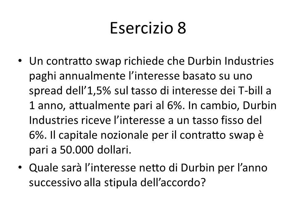 Esercizio 8 Un contratto swap richiede che Durbin Industries paghi annualmente linteresse basato su uno spread dell1,5% sul tasso di interesse dei T-b