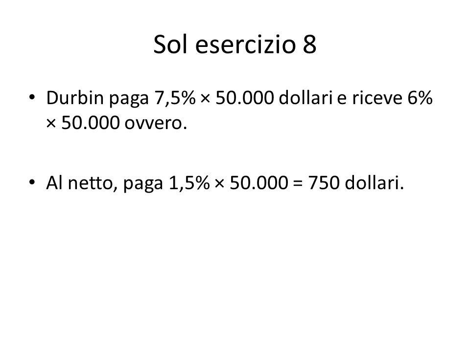 Sol esercizio 8 Durbin paga 7,5% × 50.000 dollari e riceve 6% × 50.000 ovvero. Al netto, paga 1,5% × 50.000 = 750 dollari.