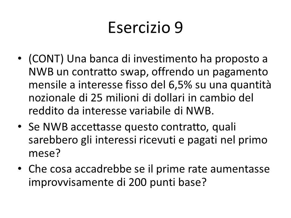 Esercizio 9 (CONT) Una banca di investimento ha proposto a NWB un contratto swap, offrendo un pagamento mensile a interesse fisso del 6,5% su una quan
