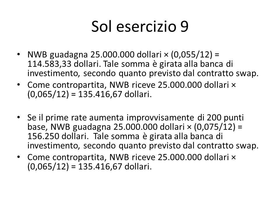 Sol esercizio 9 NWB guadagna 25.000.000 dollari × (0,055/12) = 114.583,33 dollari. Tale somma è girata alla banca di investimento, secondo quanto prev