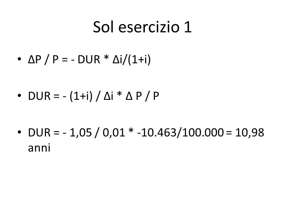 Sol esercizio 1 ΔP / P = - DUR * Δi/(1+i) DUR = - (1+i) / Δi * Δ P / P DUR = - 1,05 / 0,01 * -10.463/100.000 = 10,98 anni