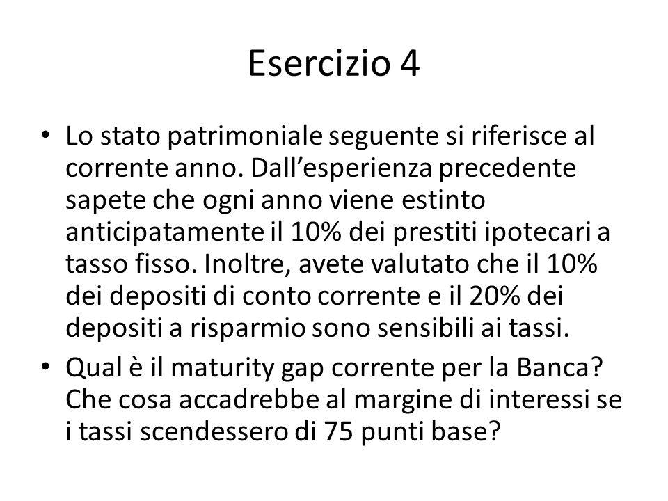 Esercizio 4 Lo stato patrimoniale seguente si riferisce al corrente anno. Dallesperienza precedente sapete che ogni anno viene estinto anticipatamente