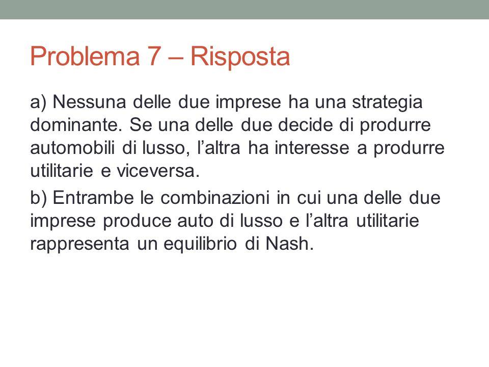 Problema 7 – Risposta a) Nessuna delle due imprese ha una strategia dominante.