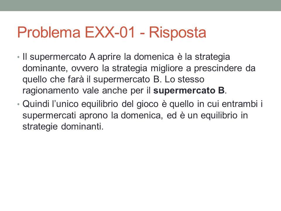 Problema EXX-01 - Risposta Il supermercato A aprire la domenica è la strategia dominante, ovvero la strategia migliore a prescindere da quello che farà il supermercato B.