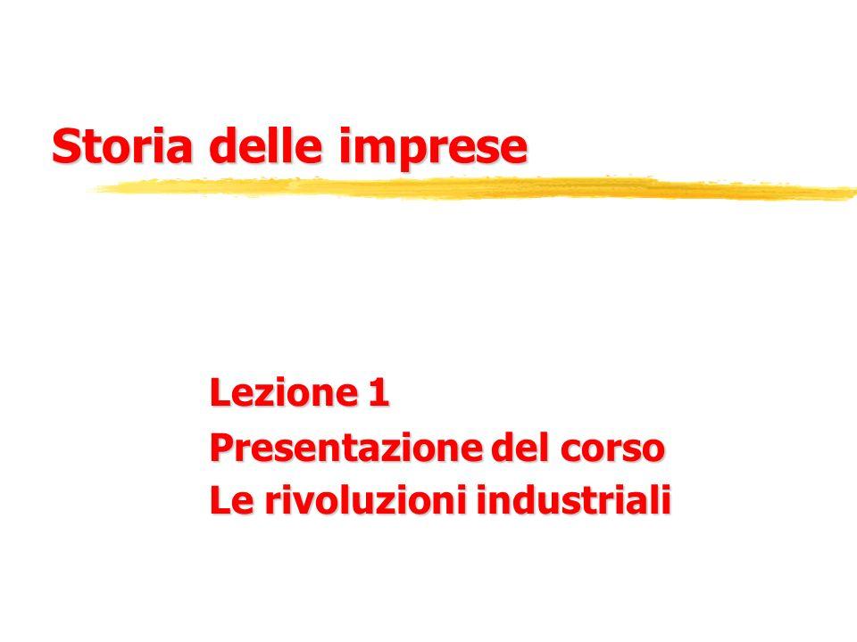 Presentazione del corso (I contenuti) zI caratteri e le fasi del processo di industrializzazione zIl ruolo dellimprenditore zLa storia dimpresa e la storia economica