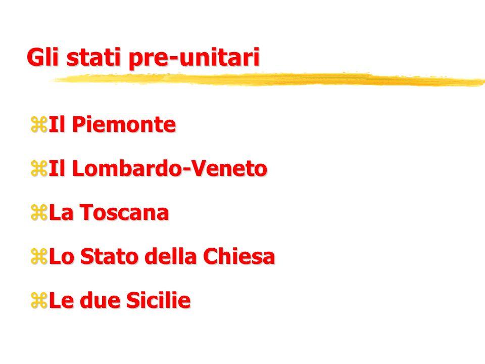 Gli stati pre-unitari zIl Piemonte zIl Lombardo-Veneto zLa Toscana zLo Stato della Chiesa zLe due Sicilie