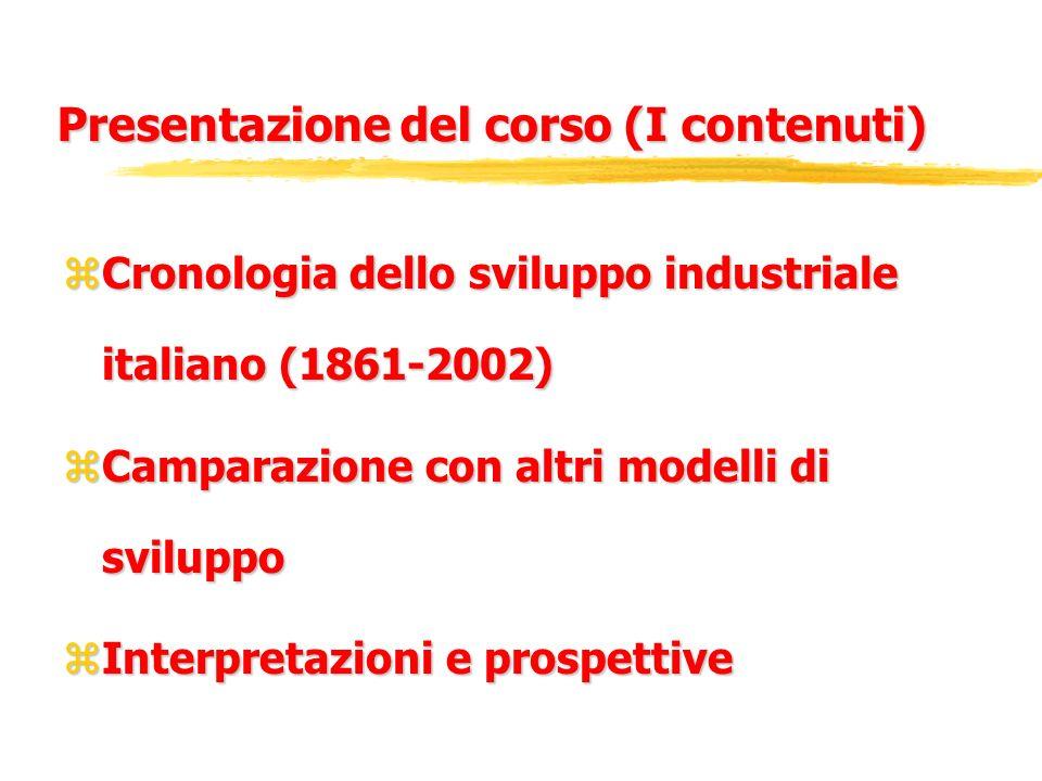Presentazione del corso (I contenuti) zCronologia dello sviluppo industriale italiano (1861-2002) zCamparazione con altri modelli di sviluppo zInterpr