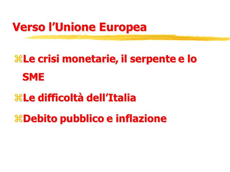 Verso lUnione Europea zLe crisi monetarie, il serpente e lo SME zLe difficoltà dellItalia zDebito pubblico e inflazione