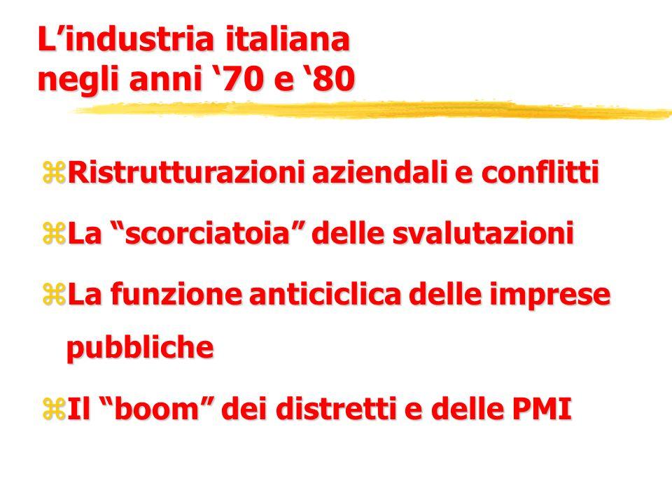 Lindustria italiana negli anni 70 e 80 zRistrutturazioni aziendali e conflitti zLa scorciatoia delle svalutazioni zLa funzione anticiclica delle impre