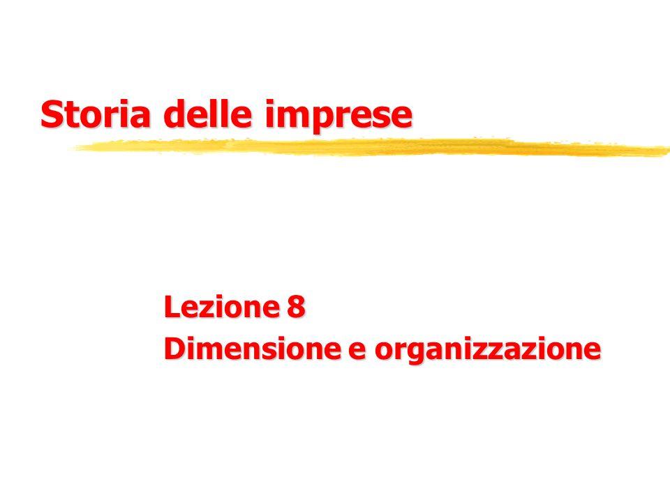 Storia delle imprese Lezione 8 Dimensione e organizzazione