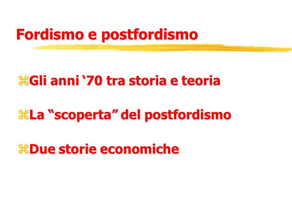 Fordismo e postfordismo zGli anni 70 tra storia e teoria zLa scoperta del postfordismo zDue storie economiche