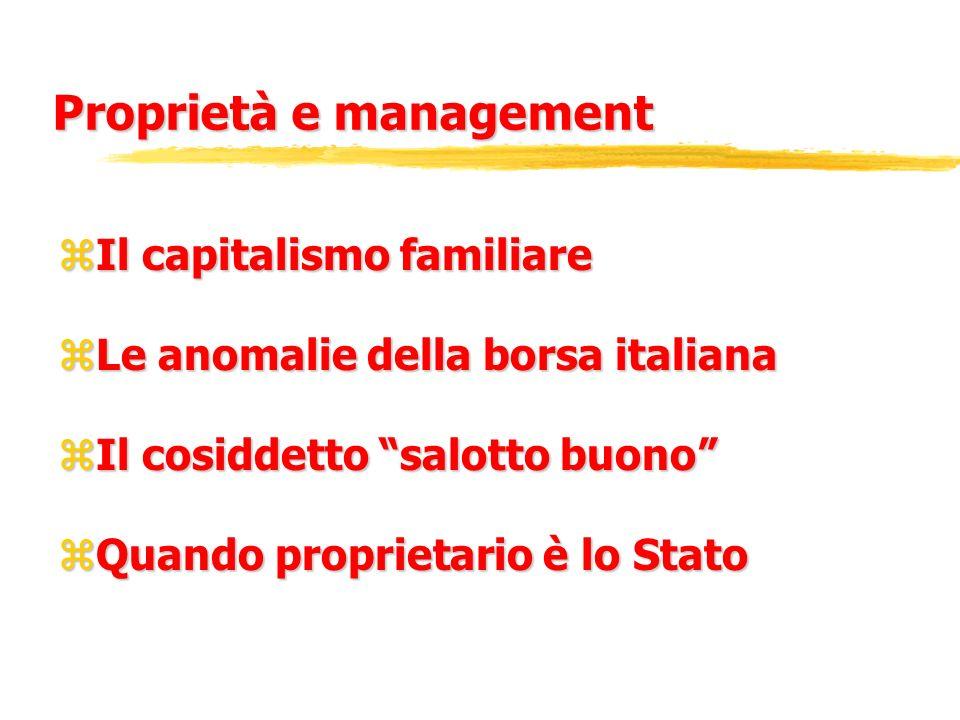 Proprietà e management zIl capitalismo familiare zLe anomalie della borsa italiana zIl cosiddetto salotto buono zQuando proprietario è lo Stato
