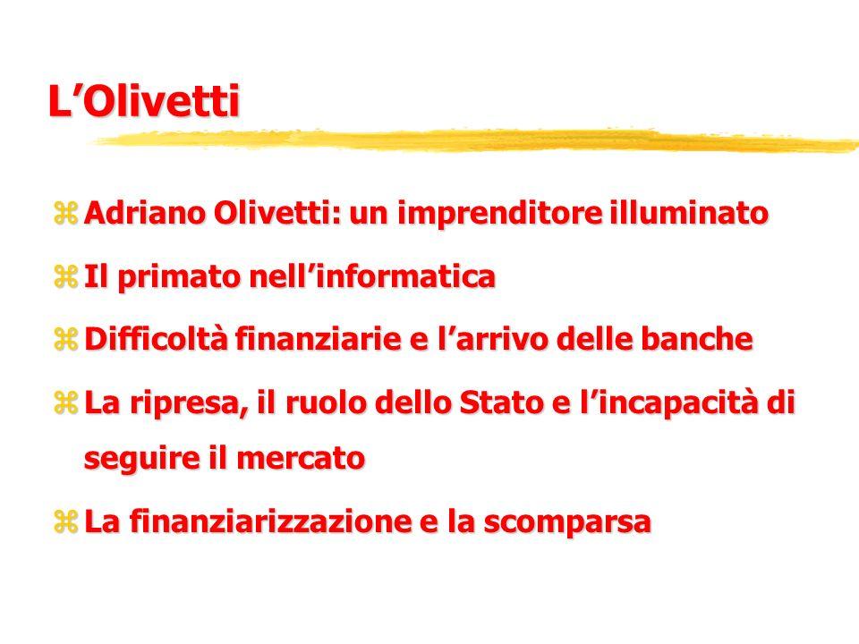 LOlivetti zAdriano Olivetti: un imprenditore illuminato zIl primato nellinformatica zDifficoltà finanziarie e larrivo delle banche zLa ripresa, il ruo