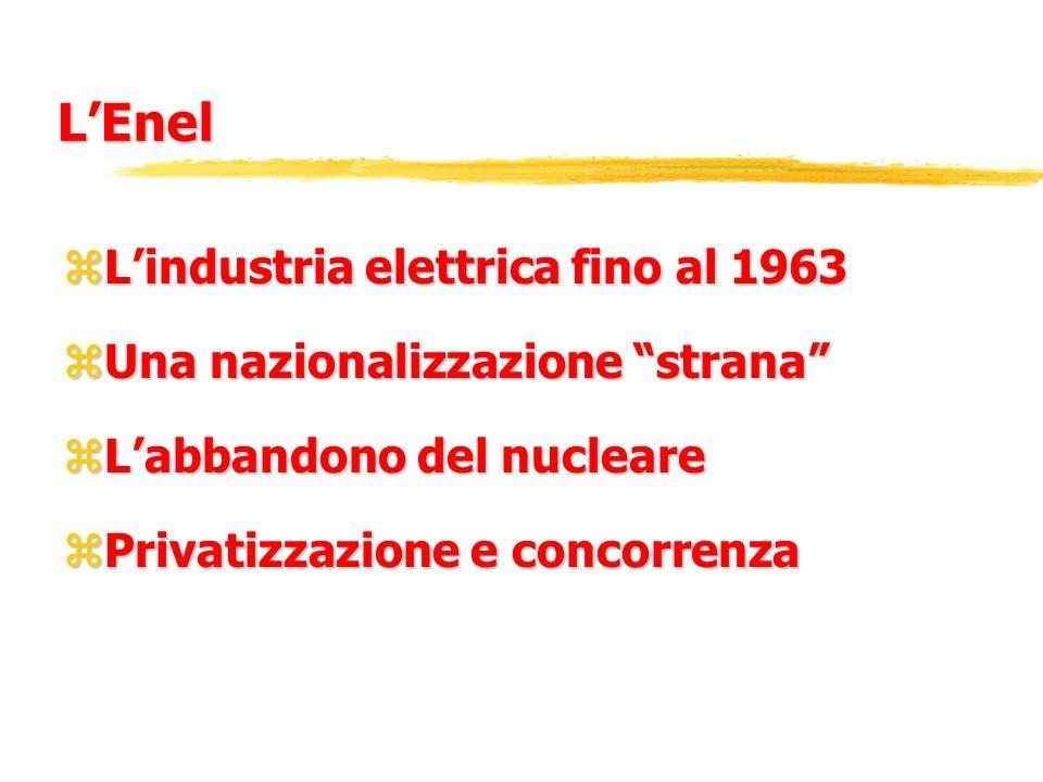 LEnel zLindustria elettrica fino al 1963 zUna nazionalizzazione strana zLabbandono del nucleare zPrivatizzazione e concorrenza