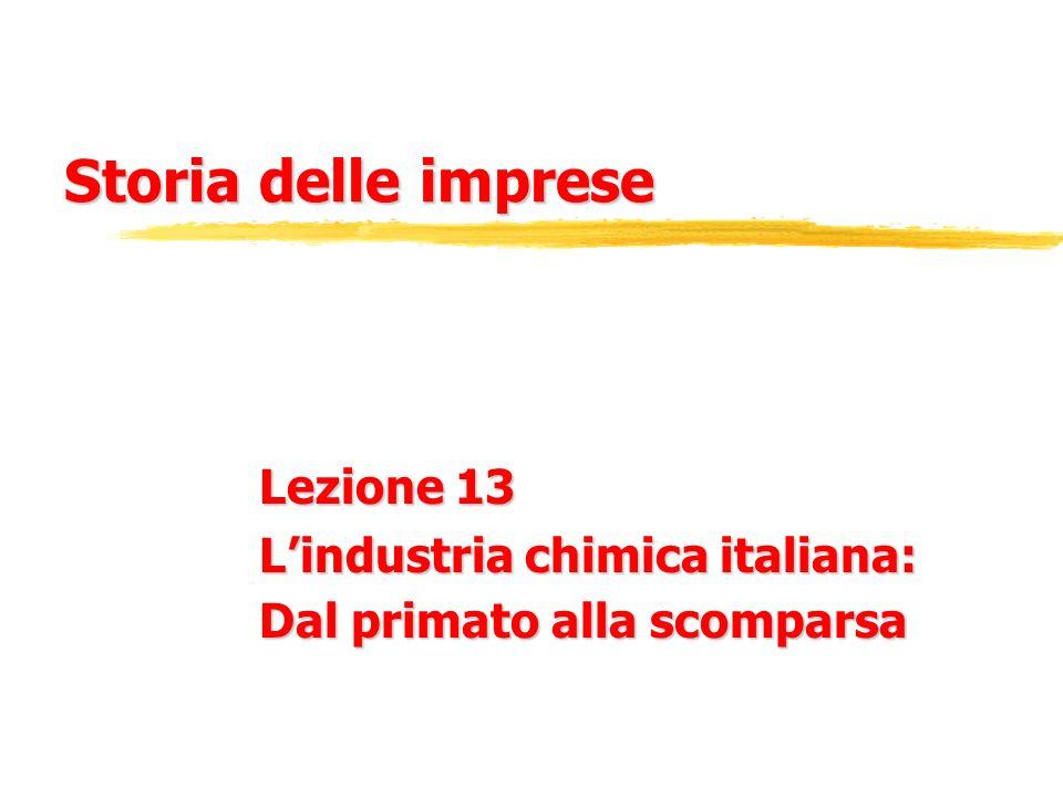 Storia delle imprese Lezione 13 Lindustria chimica italiana: Dal primato alla scomparsa
