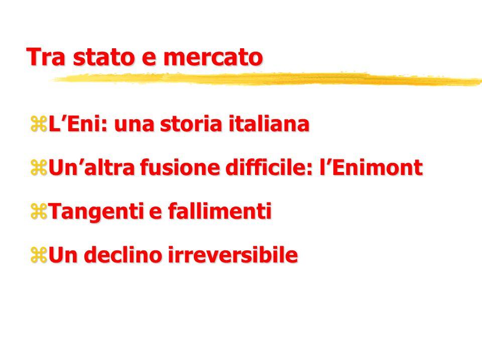 Tra stato e mercato zLEni: una storia italiana zUnaltra fusione difficile: lEnimont zTangenti e fallimenti zUn declino irreversibile