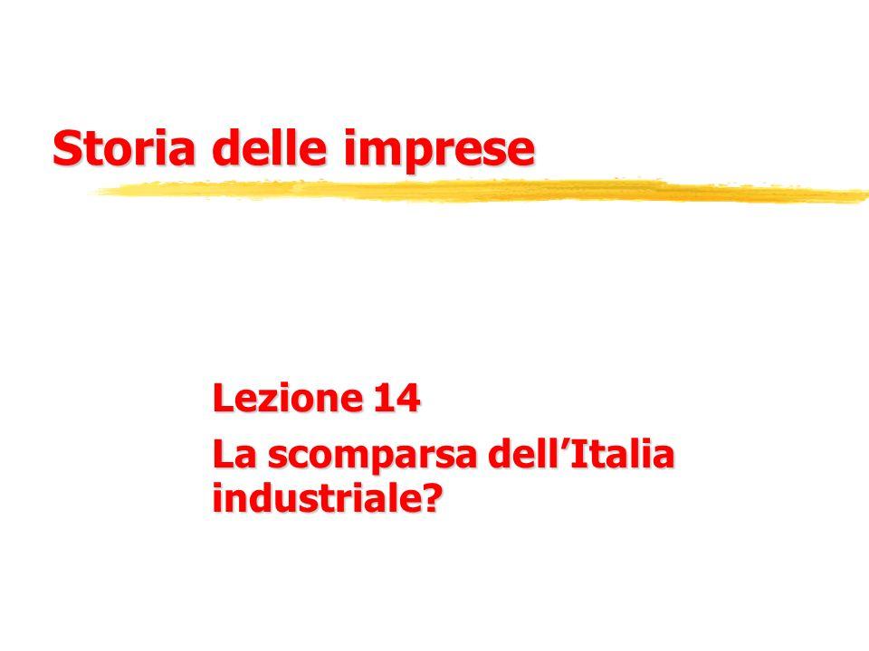 Storia delle imprese Lezione 14 La scomparsa dellItalia industriale?