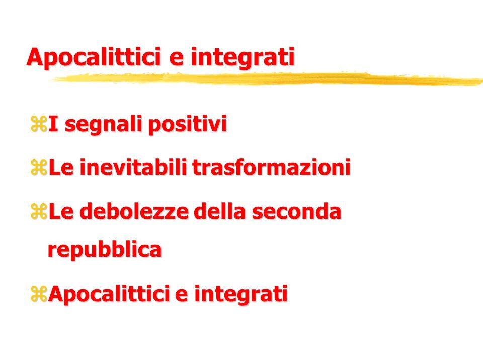 Apocalittici e integrati zI segnali positivi zLe inevitabili trasformazioni zLe debolezze della seconda repubblica zApocalittici e integrati