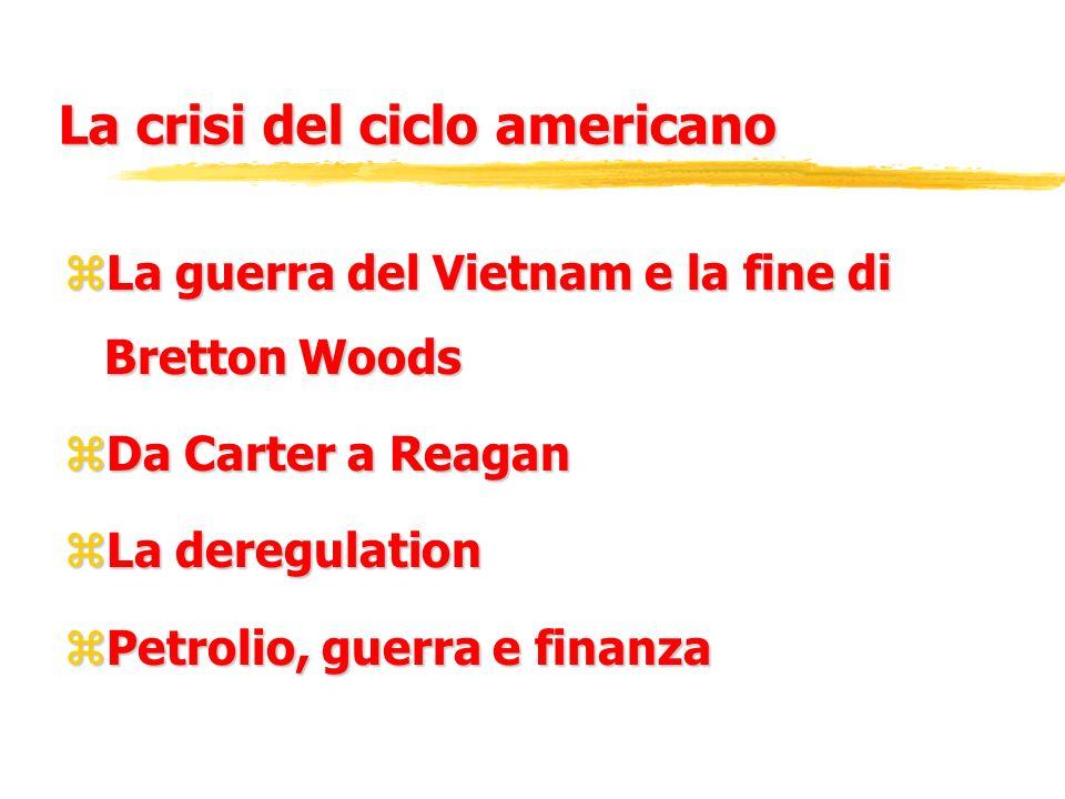 La crisi del ciclo americano zLa guerra del Vietnam e la fine di Bretton Woods zDa Carter a Reagan zLa deregulation zPetrolio, guerra e finanza