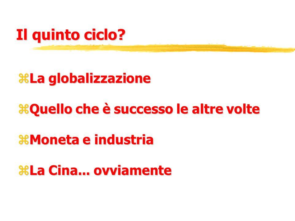 Il quinto ciclo? zLa globalizzazione zQuello che è successo le altre volte zMoneta e industria zLa Cina... ovviamente