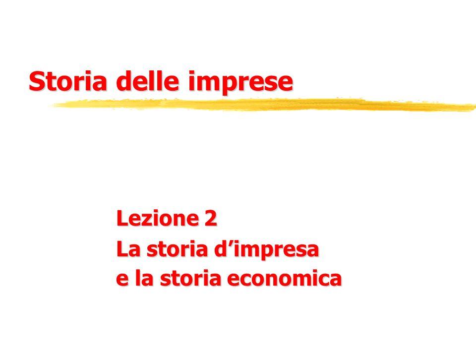 Storia delle imprese Lezione 2 La storia dimpresa e la storia economica
