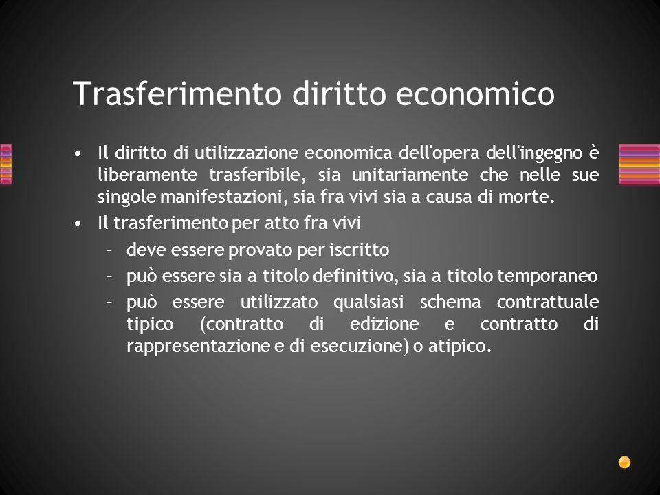 Il diritto di utilizzazione economica dell'opera dell'ingegno è liberamente trasferibile, sia unitariamente che nelle sue singole manifestazioni, sia