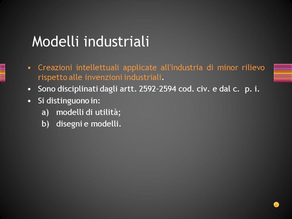 Creazioni intellettuali applicate all'industria di minor rilievo rispetto alle invenzioni industriali. Sono disciplinati dagli artt. 2592-2594 cod. ci