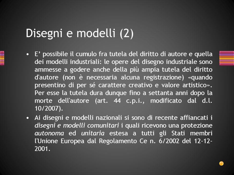 E possibile il cumulo fra tutela del diritto di autore e quella dei modelli industriali: le opere del disegno industriale sono ammesse a godere anche