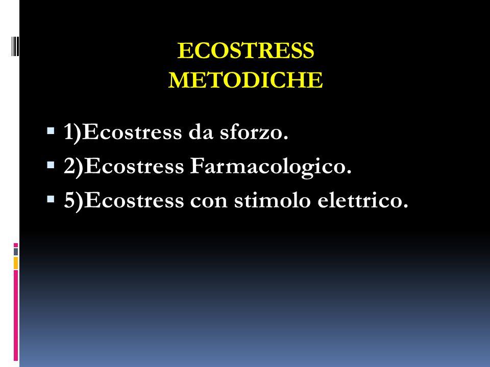 ECOSTRESS METODICHE 1)Ecostress da sforzo. 2)Ecostress Farmacologico. 5)Ecostress con stimolo elettrico.