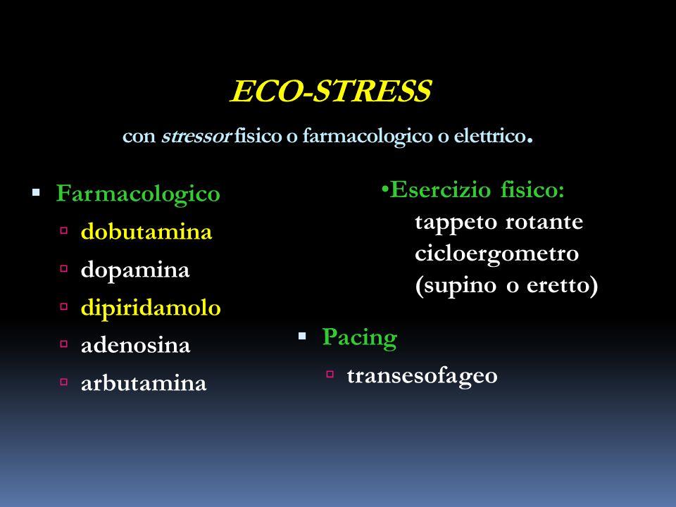 ECO-STRESS con stressor fisico o farmacologico o elettrico. Farmacologico dobutamina dopamina dipiridamolo adenosina arbutamina Pacing transesofageo E