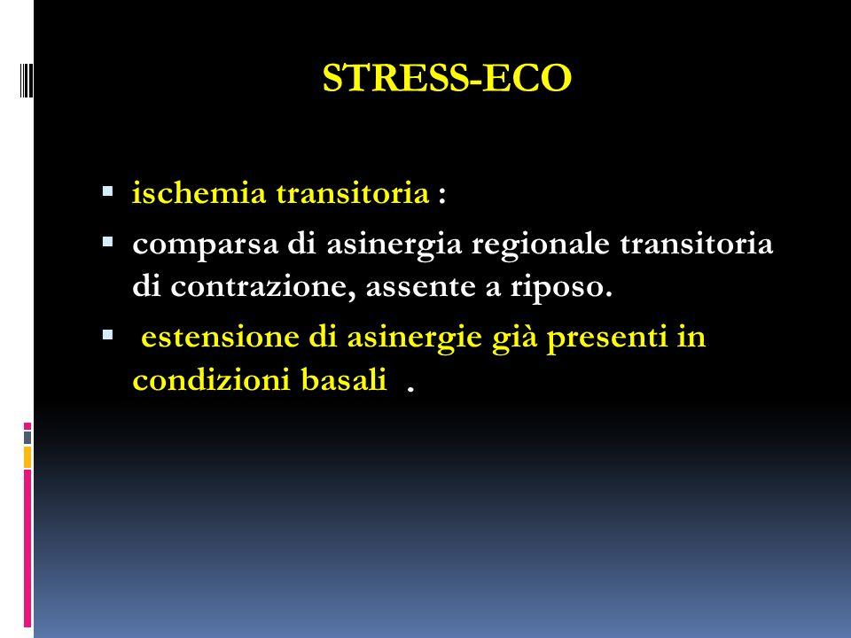 STRESS-ECO ischemia transitoria : comparsa di asinergia regionale transitoria di contrazione, assente a riposo. estensione di asinergie già presenti i