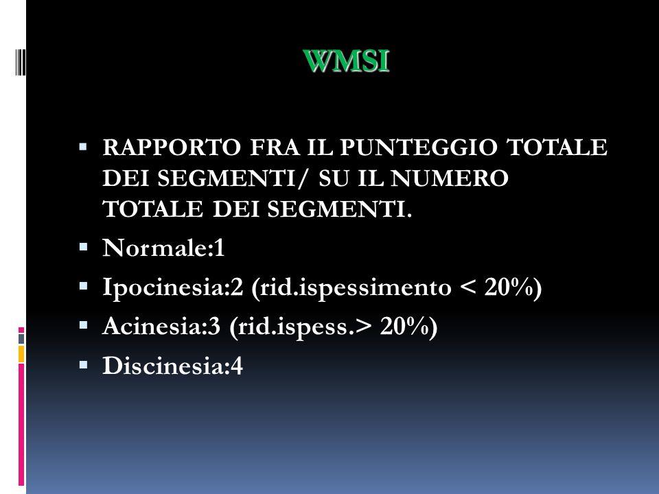 WMSI RAPPORTO FRA IL PUNTEGGIO TOTALE DEI SEGMENTI/ SU IL NUMERO TOTALE DEI SEGMENTI. Normale:1 Ipocinesia:2 (rid.ispessimento < 20%) Acinesia:3 (rid.