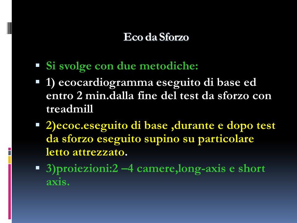 Eco da Sforzo Si svolge con due metodiche: 1) ecocardiogramma eseguito di base ed entro 2 min.dalla fine del test da sforzo con treadmill 2)ecoc.esegu