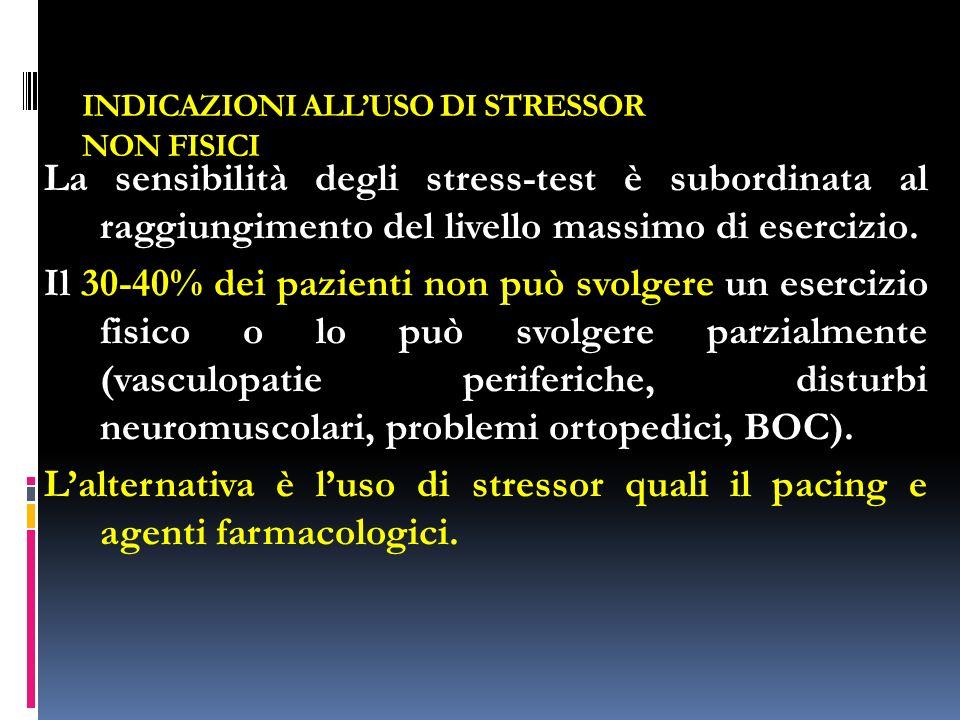 INDICAZIONI ALLUSO DI STRESSOR NON FISICI La sensibilità degli stress-test è subordinata al raggiungimento del livello massimo di esercizio.