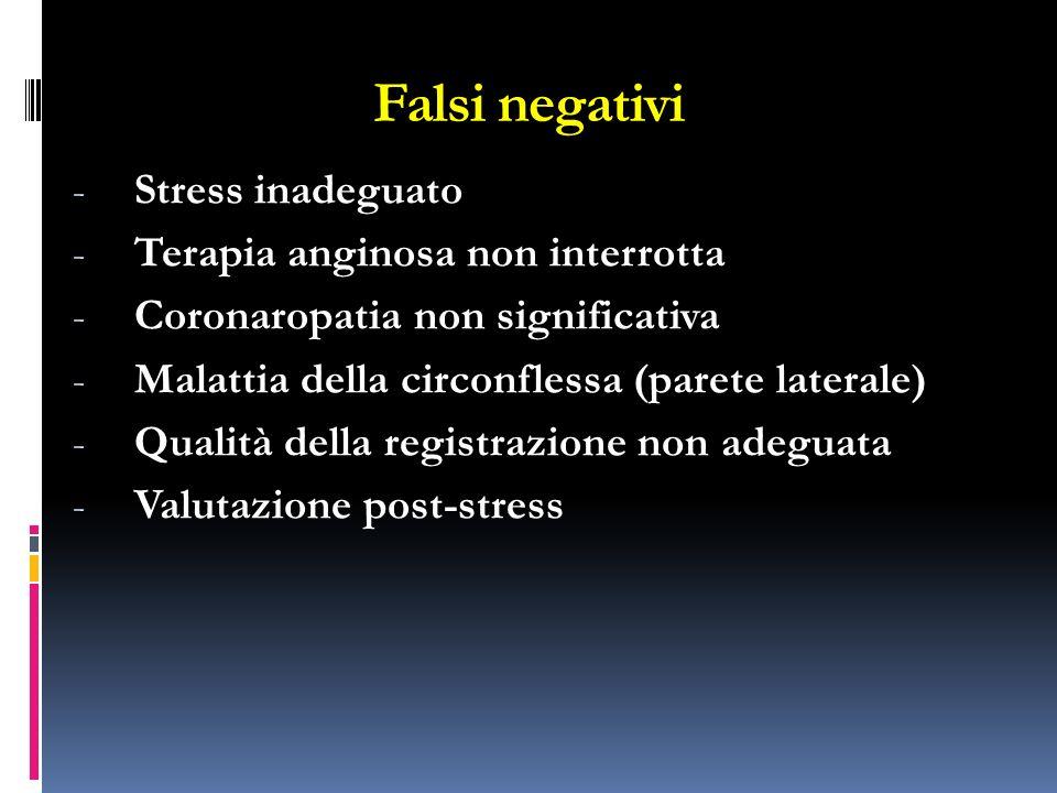 Falsi negativi - Stress inadeguato - Terapia anginosa non interrotta - Coronaropatia non significativa - Malattia della circonflessa (parete laterale)