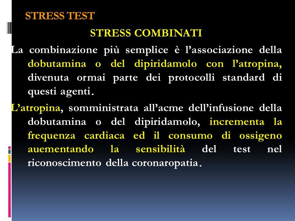 STRESS TEST STRESS COMBINATI La combinazione più semplice è lassociazione della dobutamina o del dipiridamolo con latropina, divenuta ormai parte dei