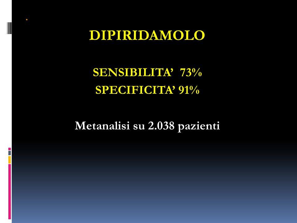 . DIPIRIDAMOLO SENSIBILITA 73% SPECIFICITA 91% Metanalisi su 2.038 pazienti