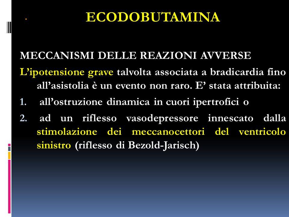 . ECODOBUTAMINA MECCANISMI DELLE REAZIONI AVVERSE Lipotensione grave talvolta associata a bradicardia fino allasistolia è un evento non raro. E stata