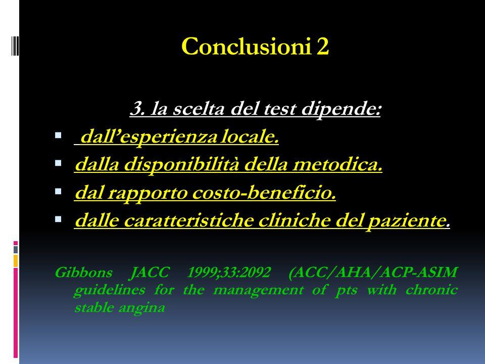 Conclusioni 2 3. la scelta del test dipende: dallesperienza locale. dalla disponibilità della metodica. dal rapporto costo-beneficio. dalle caratteris
