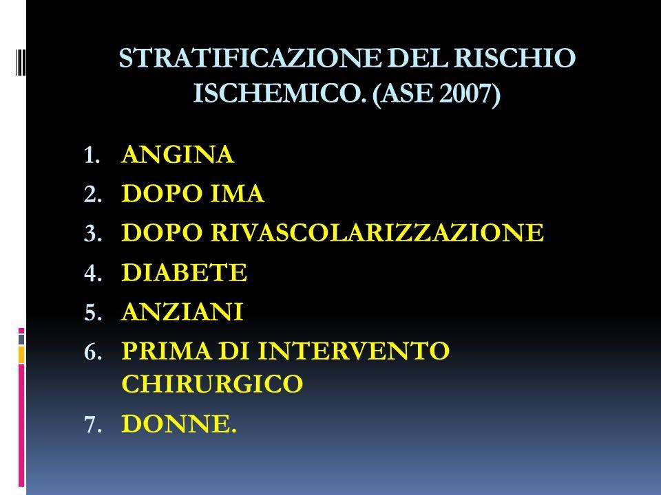 STRATIFICAZIONE DEL RISCHIO ISCHEMICO.(ASE 2007) 1.