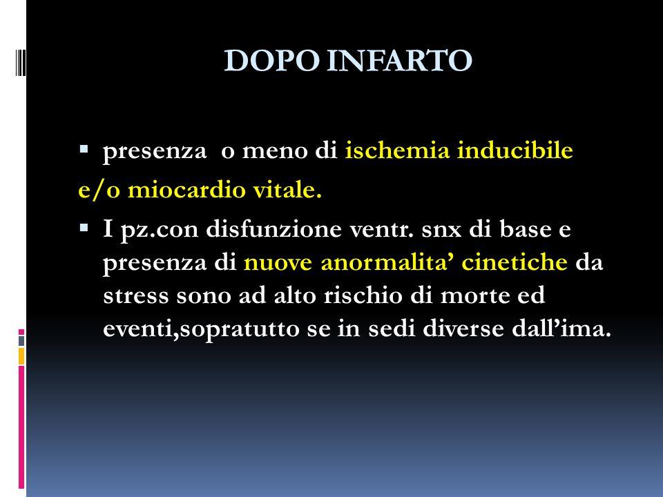 DOPO INFARTO presenza o meno di ischemia inducibile e/o miocardio vitale.
